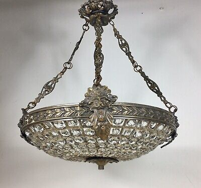 French Antique 1920s Glass Empire Chandelier Ceiling Lamp Light VTG Lighting