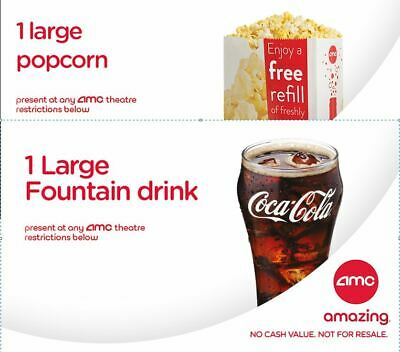 E-DELIVERY AMC Theaters Large Popcorn & Large Coke Soft Drink  Expires 6/30/20