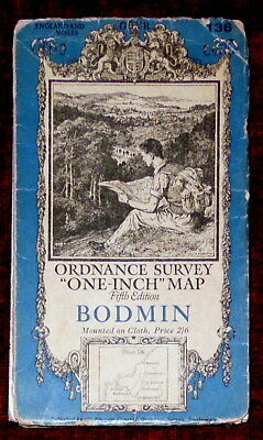 """Ordnance Survey Fifth Edition Linen Backed 1"""":1 Mile Map Of Bodmin - 1938"""