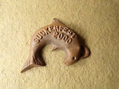 Cast Iron Advertising Suckerfest Fish Weight Paperweight Great Lakes Foundry MI
