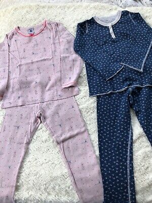 Two Petit Bateau Kids Multicoloured Pink & Blue Pyjamas Size 4 Years Old Girls