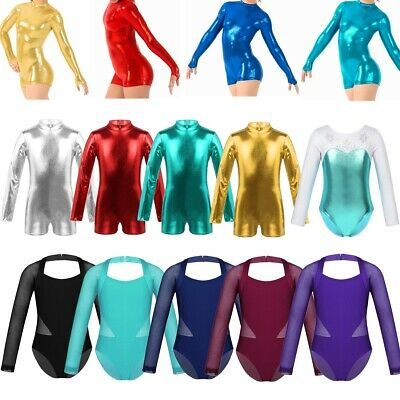 Girls Kids Dance Gymnastics Leotard Long Sleeve Metallic Bodysuit Top Childrens
