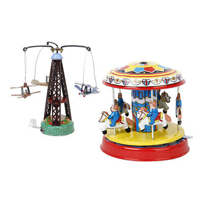 2x RETRO LEVER ACTION WIND UP MODEL CAROUSEL TINY PLANE AIRCRAFT & TOWER TOY