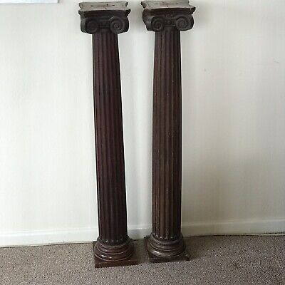 Pair Antique Architectural  Solid Mahogany Reeded Column Stands Posts Bar 104 Cm