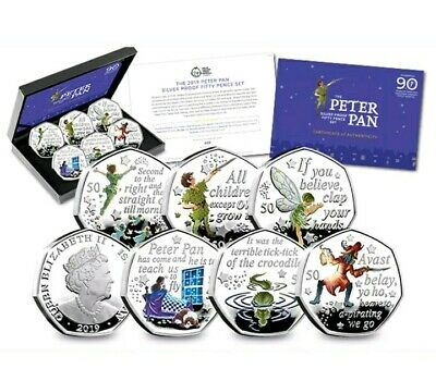2019 Isle Of Man Peter Pan Silver Proof 50P Coin Set. UNC