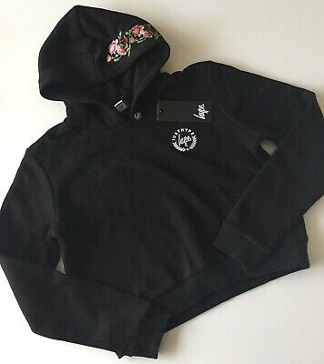 Girls HYPE Black Rose Garden Cropped Hoodie/Jumper/Top - Size 14 Years, NEW