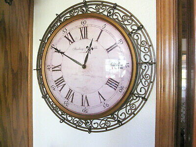 """Sterling and Noble Ornate Scroll Metal Dome Bubble Glass 20"""" Round Wall Clock"""