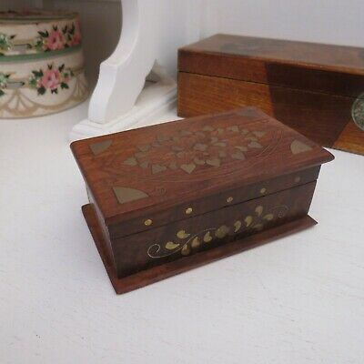 Wood/timber with brass inlay trinket box