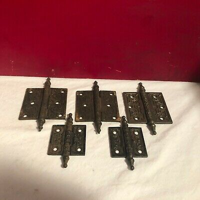 "Antique Lot of 5 Cast Iron Church Steeple Door Hinge 2.5, 3.5"" Art Deco Eastlake"
