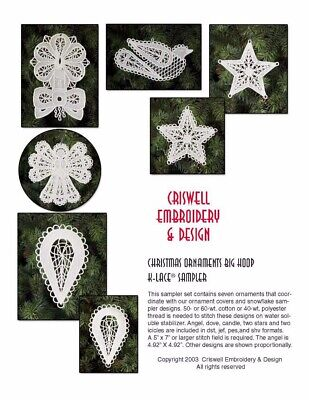 """Criswell Lace Embroidery CD """"S024 Christmas Ornaments K Lace sampler"""""""