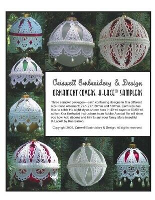 "Criswell Lace Embroidery CD  ""Ornament Covers 67mm"""