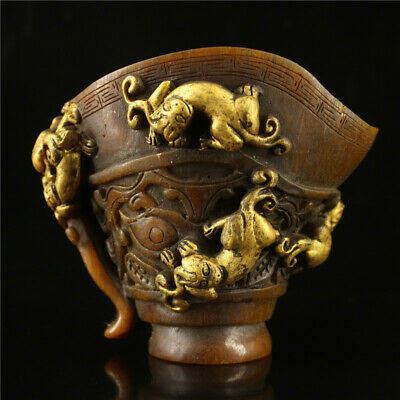 """5.51""""  Chinese Exquisite Ox horn gilt Hand-carved 9 Dragon Ox horn cup wine cup"""