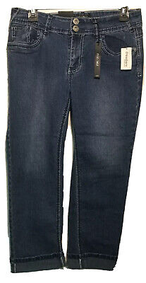 Roz Ali By Dress Barn Womens Capri Tapered Leg Cropped Jeans Size 8 R