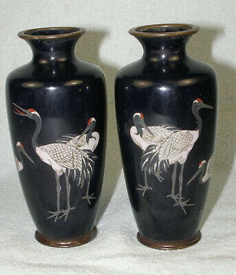 PAIR Antique Japanese Cloisonne Cabinet Vases - Red Headed Cranes