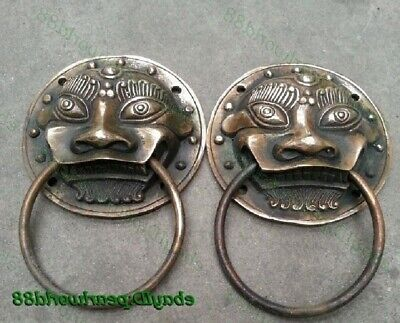 Authentic China Fengshui Bronze Lion Foo Fu Dog Head Mask Door knocker A Pair
