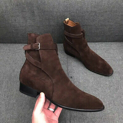Mens Leather Ankle Boots Hand Made Chelsea High Top Buckle Shoes Retro Solid qi