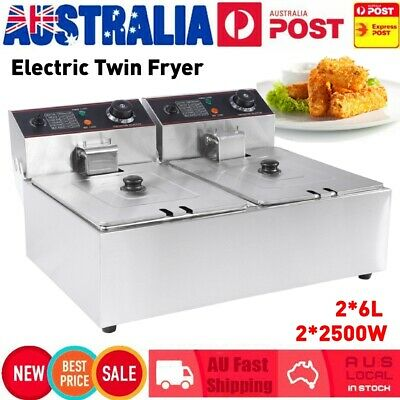 12L Electric Deep Fryer Twin Frying Basket Commercial Chip Cooker 5000W 220-240V