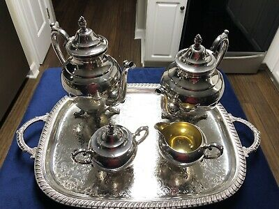 4 Pc Wm Rogers Silver Plated Tea Set & a Leonard Silver Footed Serving Tray