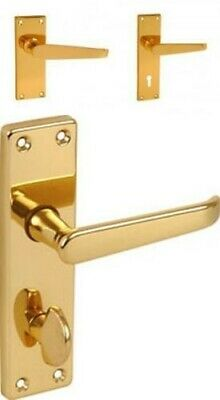Polished Brass Victorian Flat Lever Latch Lock Door Handles