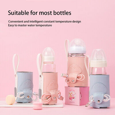Constant Temperature Isolation Cover Warmer Bottle Heater USB Outdoor Travel PU