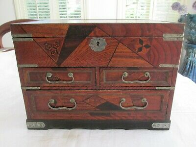 Superb Large Antique Japanese Inlaid Inlay Timber and Lacquer Jewellery Box