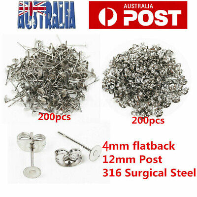 400PCS Earring Stud Posts 4mm Pads & Nut Backs Silvery Surgical Steel DIY Crafts