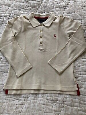 Ralph Lauren Kids Long Sleeves Beige Shirt Size 5 Years Old Girls