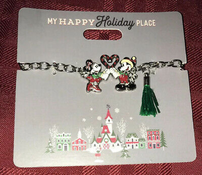 Disney Parks Mickey & Minnie Mouse Christmas Holiday Bracelet MY HAPPY HOLIDAY