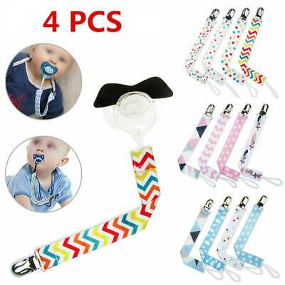 4X Dummy Clips Baby Boys Girls Soother Chain Holder Strap Pacifier Modern Design