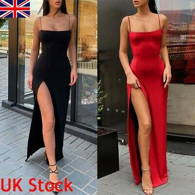 UK Women Sexy Strappy Split Long Dress Bodycon Evening Party Cocktail Prom Gown