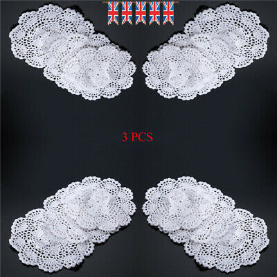 3 x Tablecloth Doily Table Cloth Handmade Crochet Lace Cotton Cover Mat Round