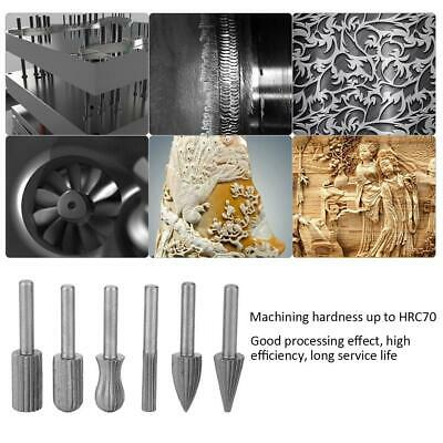 High Hardness 6pc Steel Rotary Burr Wood File Engraving Grinding Bit 6mm Shank