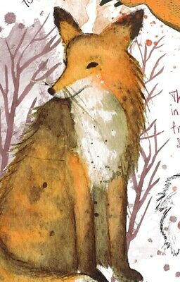 A4 Winter Fox British Wild Flower Bird Nature Wildlife Art Print Animal Garden