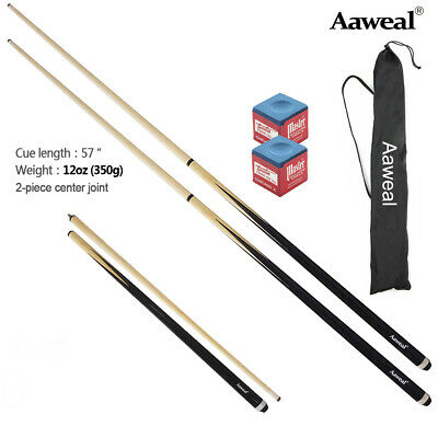 2 x Aaweal 57 Inch Wooden Two-Piece Billiard Pool Snooker Cues Stick Set