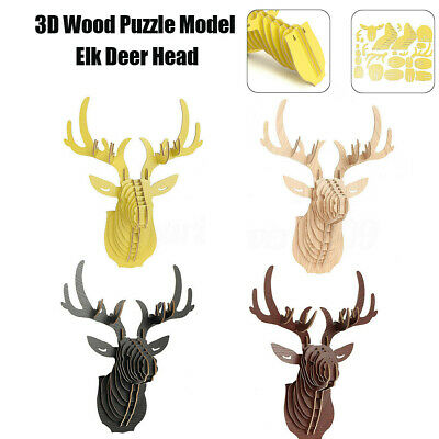 Large Wooden Deer Trophy Animal Head 3D Wall Art Decor Stag Head Antlers UKUK
