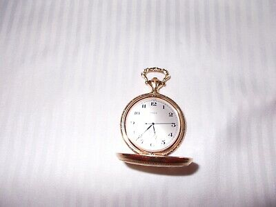 Vintage Timex Pocket Watch ~Etched Engraved Train ~ Gold Tone