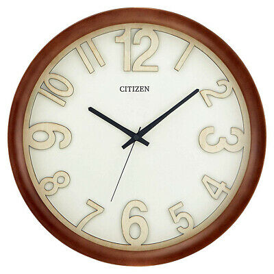 "Citizen Gallery 16"" Wooden Case with Walnut Finish Wall Clock CC2059"