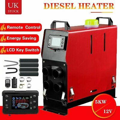Air diesel Heater LCD Remote 2KW-5KW 12V For Home Lorrys Boats Bus Van 4-Hole