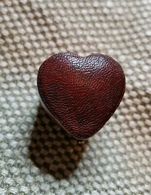Antique Heart Shaped Faux Red Moroccan Leather Ring Box - Victorian