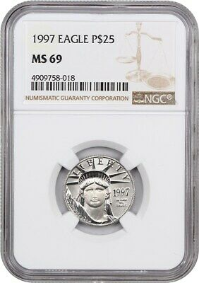1997 Platinum Eagle NGC MS69 - Statue Liberty 1/4 oz