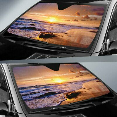 Sunset Waves Nature Car Sunshade