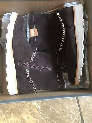 Clarks Crown Piper Girls Junior Faux Fur Lined Suede Ankle Boots Size 2.5