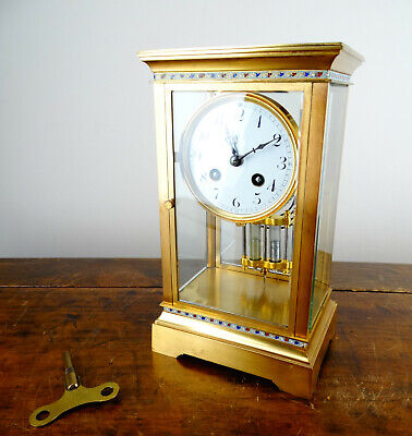 Antique French Crystal Four Glass Mantel Clock Champleve Striking Regulator