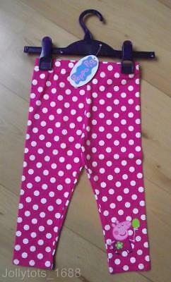 NEW Girls Peppa Pig Leggings Age 9-12 Months Spotted Pink Character Leggings