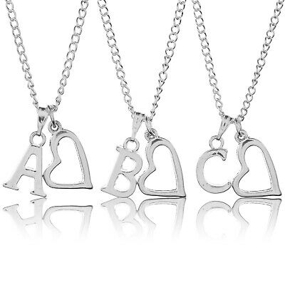 """Personalised Initial 20"""" Hollow Heart Necklace Silver Plated Letter Pendant"""