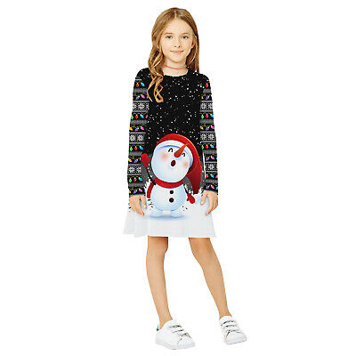 Childrens Kids Girls Cute Winter Christmas Tree Holiday Festive Snowman Dress