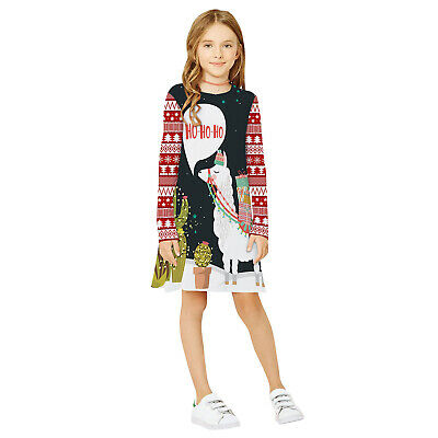 Childrens Kids Girls Cute Snowman Llama Winter Christmas Holiday Festive Dress