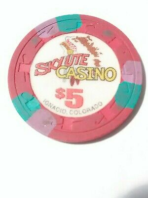 Skyute Casino Ignacio, Colorado Old $5.00 Chip Great For Any Collection!