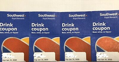 Southwest Airlines Coupon Drink Vouchers (X4) Exp 01/31/2020