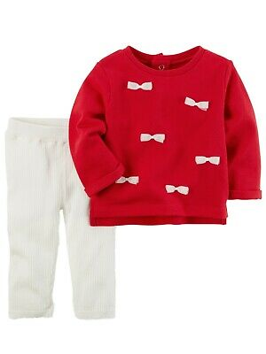 Carters Infant Girls Baby Outfit Red Bow Shirt & White Ribbed Leggings Set 9m